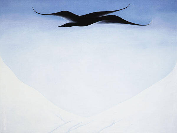 A Black Bird With Snow Covered Red Hills 1946 By Georgia O'Keeffe