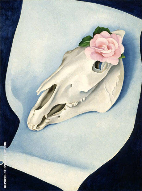 Horses Skull With Pink Rose 1931 By Georgia O'Keeffe - Oil Paintings & Art Reproductions - Reproduction Gallery