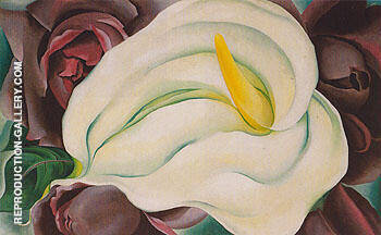 L K White Calla And Roses 1926 By Georgia O'Keeffe Replica Paintings on Canvas - Reproduction Gallery