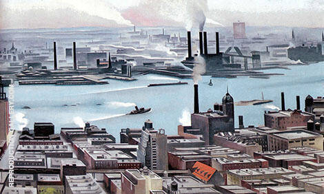 River New York 1928 By Georgia O'Keeffe Replica Paintings on Canvas - Reproduction Gallery