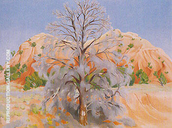 Dead Tree With Pink Hill 1945 By Georgia O'Keeffe