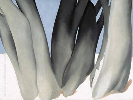 Bare Tree Trunks with Snow 1946 By Georgia O'Keeffe