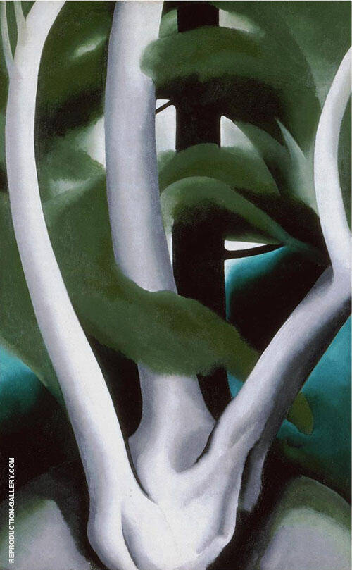 Reproduction of Birch and Pine Tree 1925 No 1 by Georgia O'Keeffe | Oil Painting Replica On CanvasReproduction Gallery