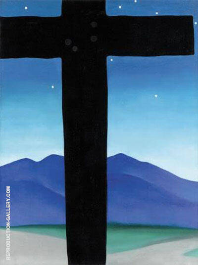 Black Cross with Stars and Blue 1929 Painting By Georgia O'Keeffe