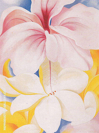 Reproduction of Hibiscus With Plumeria 1939 by Georgia O'Keeffe | Oil Painting Replica On CanvasReproduction Gallery