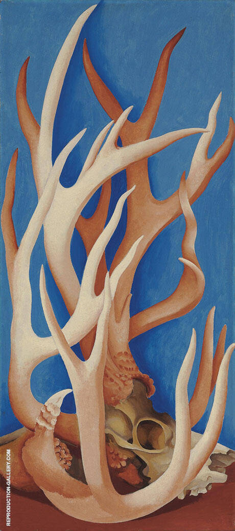 Deer Horns 1938 By Georgia O'Keeffe - Oil Paintings & Art Reproductions - Reproduction Gallery