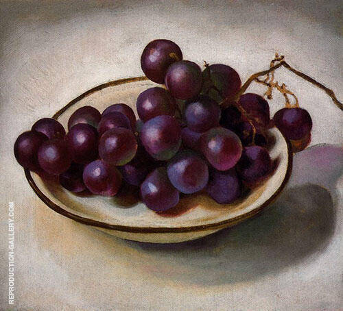 Grapes On White Dish Dark Rim 1920 By Georgia O'Keeffe - Oil Paintings & Art Reproductions - Reproduction Gallery