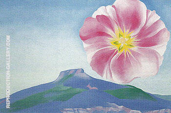 Hollyhock Pink With The Pedernal New Mexico 1937 By Georgia O'Keeffe - Oil Paintings & Art Reproductions - Reproduction Gallery