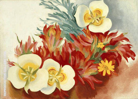 Mariposa Lilies And Indian Paintbrush 1941 By Georgia O'Keeffe - Oil Paintings & Art Reproductions - Reproduction Gallery
