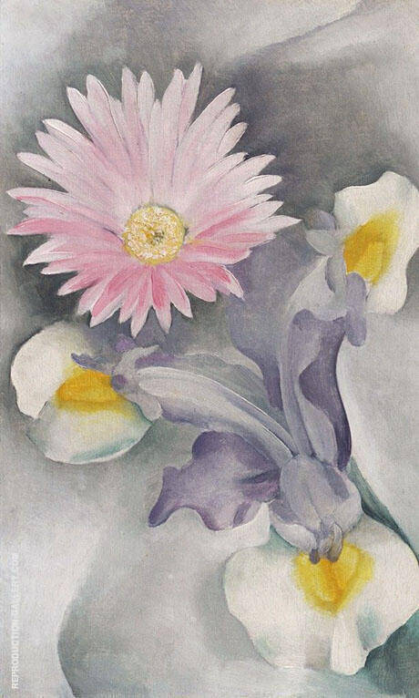 Pink Daisy with Iris 1927 Painting By Georgia O'Keeffe
