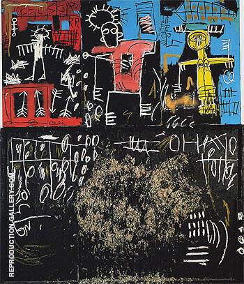 Reproduction of Untitled Black Tar and Feathers 1982 by Jean-Michel-Basquiat | Oil Painting Replica On CanvasReproduction Gallery