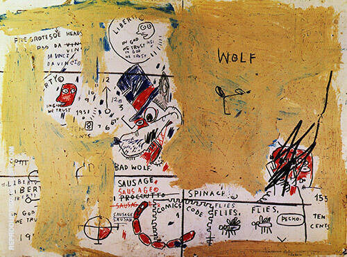Wolf Sausage By Jean-Michel-Basquiat Replica Paintings on Canvas - Reproduction Gallery