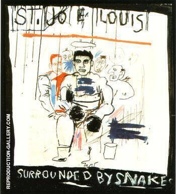 St Joe Louis Surrounded by Snakes 1982 Painting By Jean-Michel-Basquiat