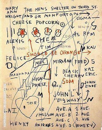 Untitled Cheese Popcorn 1983 By Jean-Michel-Basquiat Replica Paintings on Canvas - Reproduction Gallery