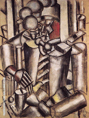 Soldier with a Pipe 1916 By Fernand Leger - Oil Paintings & Art Reproductions - Reproduction Gallery