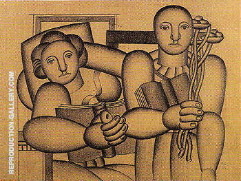Study for Reading 1923 Painting By Fernand Leger - Reproduction Gallery