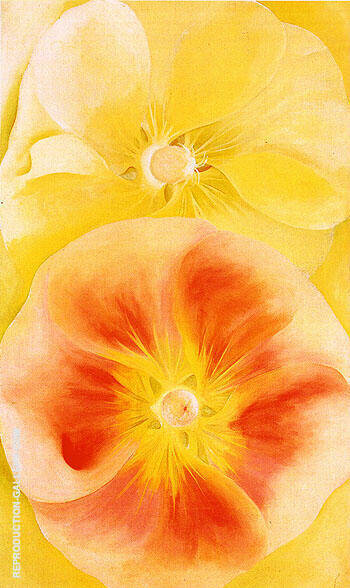 Pink and Yellow Hollyhocks 1952 Painting By Georgia O'Keeffe