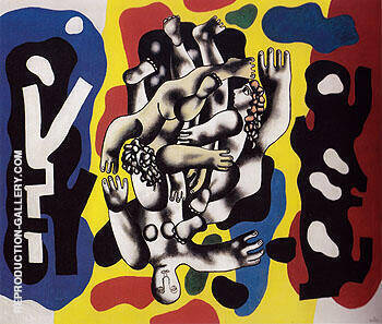 Divers on a Yellow Background 1941 By Fernand Leger