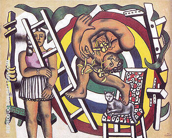 The Acrobat and His Partner 1948 By Fernand Leger Replica Paintings on Canvas - Reproduction Gallery