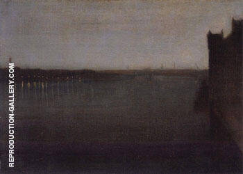 Reproduction of Nocturne in Gray and Gold by James McNeill Whistler | Oil Painting Replica On CanvasReproduction Gallery