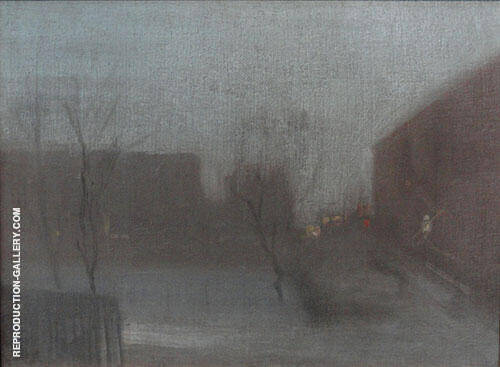 Reproduction of Nocturne Trafalgar Square Chelsea Snow 1876 by James McNeill Whistler | Oil Painting Replica On CanvasReproduction Gallery
