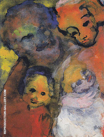 Family with Two Children By Emil Nolde - Oil Paintings & Art Reproductions - Reproduction Gallery