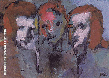 Three Heads Painting By Emil Nolde - Reproduction Gallery