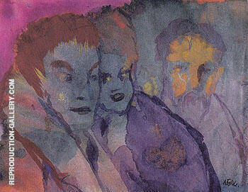 Couple and Bearded Older Man By Emil Nolde - Oil Paintings & Art Reproductions - Reproduction Gallery