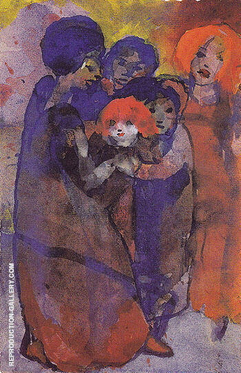 Group with Children By Emil Nolde - Oil Paintings & Art Reproductions - Reproduction Gallery