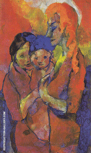 Mother with Two Children Painting By Emil Nolde - Reproduction Gallery