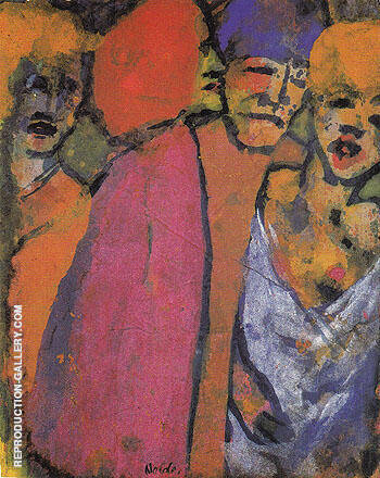 Reproduction of Encounter Four Figures by Emil Nolde | Oil Painting Replica On CanvasReproduction Gallery