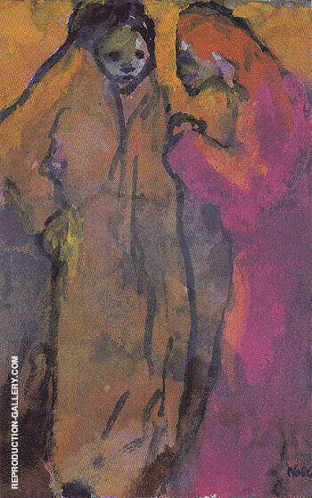 Two Women Brown and Red By Emile Nolde