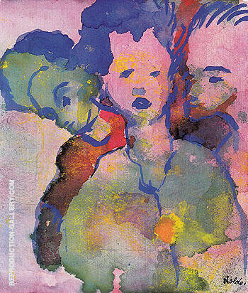 Three Young Women Painting By Emil Nolde - Reproduction Gallery
