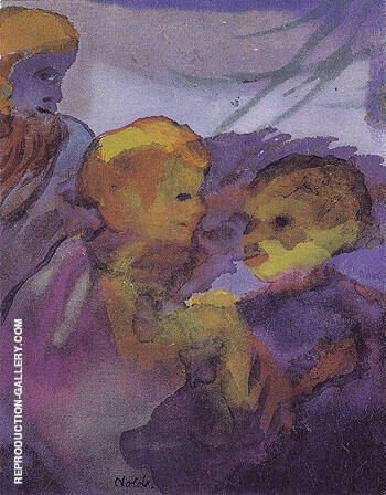 Two Women Bearded Older Man Painting By Emil Nolde - Reproduction Gallery