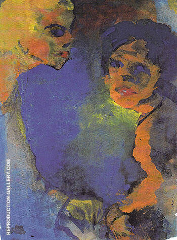 Two Women against a Blue Sky By Emil Nolde - Oil Paintings & Art Reproductions - Reproduction Gallery