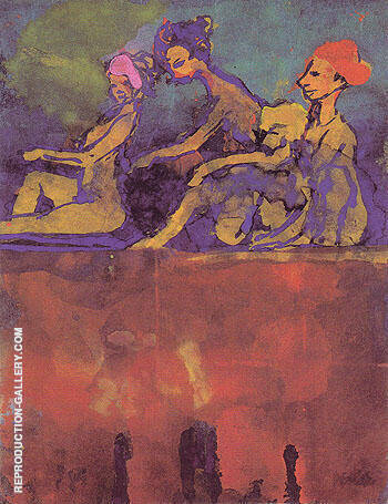 Scene with Four Figures Painting By Emil Nolde - Reproduction Gallery