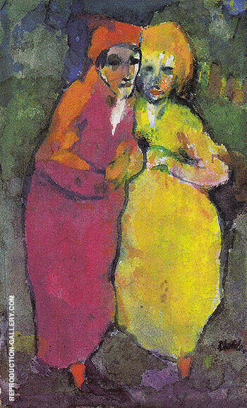Couple Red and Yellow By Emil Nolde - Oil Paintings & Art Reproductions - Reproduction Gallery