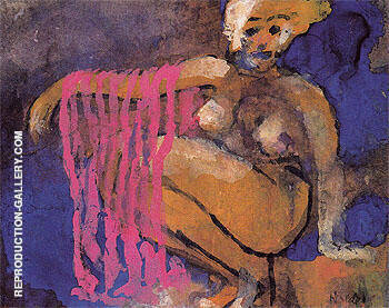 Crouching Nude By Emil Nolde - Oil Paintings & Art Reproductions - Reproduction Gallery