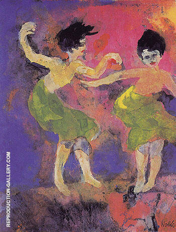 Reproduction of Dancing Women with Green Skirts by Emil Nolde | Oil Painting Replica On CanvasReproduction Gallery