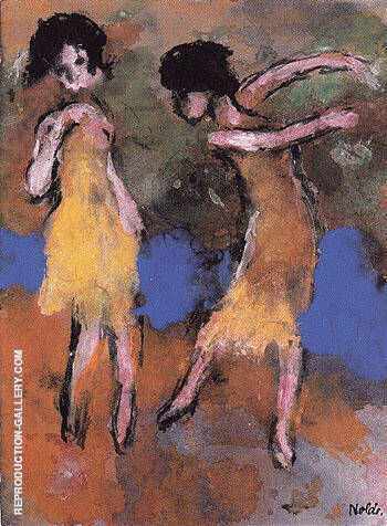 Two Dancing Girls By Emil Nolde Replica Paintings on Canvas - Reproduction Gallery