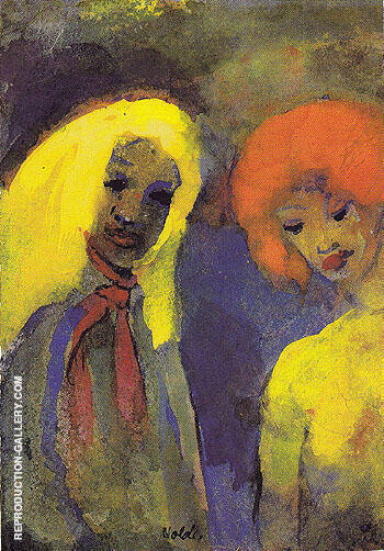 Two Women Yellow and Red Hair Painting By Emil Nolde