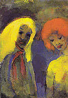 Two Women Yellow and Red Hair By Emil Nolde