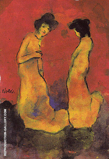 Two Women in Long Gowns By Emil Nolde - Oil Paintings & Art Reproductions - Reproduction Gallery