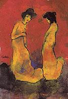 Two Women in Long Gowns By Emil Nolde