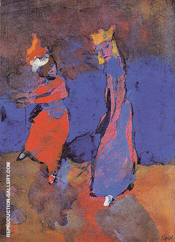 King and Dancing Woman Painting By Emil Nolde - Reproduction Gallery