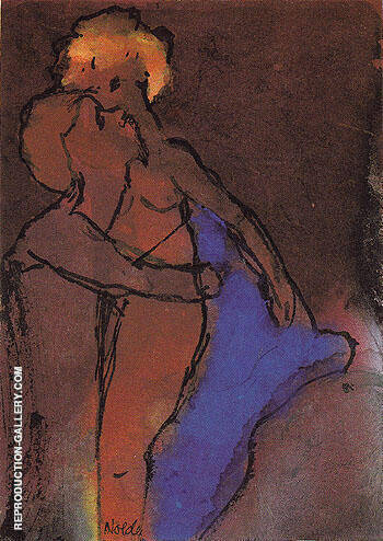 Reddish brown Couple Embracing By Emil Nolde Replica Paintings on Canvas - Reproduction Gallery