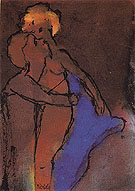 Reddish brown Couple Embracing By Emil Nolde