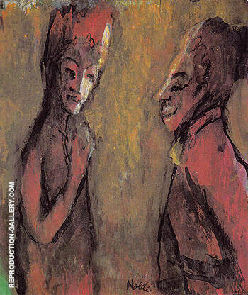 Strange Couple Brown Ground By Emil Nolde Replica Paintings on Canvas - Reproduction Gallery
