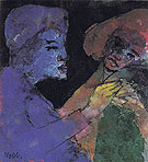 Flirting Blue violet and Green By Emil Nolde
