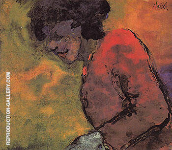 Woman in a Red Dress By Emil Nolde Replica Paintings on Canvas - Reproduction Gallery